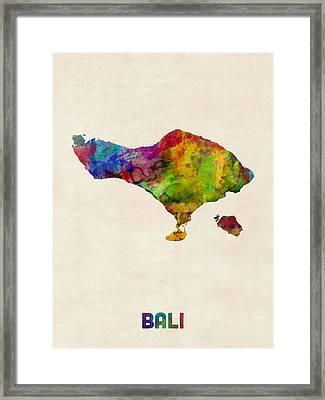 Bali Watercolor Map Framed Print by Michael Tompsett