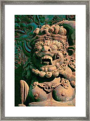 Balinese Hindu Temple Guardian Art Photography - Bali Guardian II Framed Print