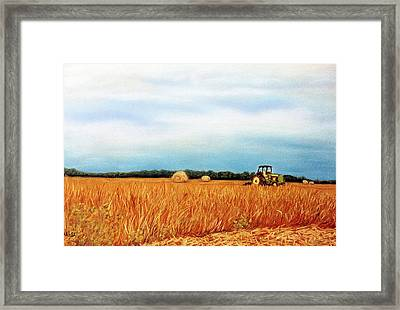 Baling Hay Framed Print by Jan Amiss