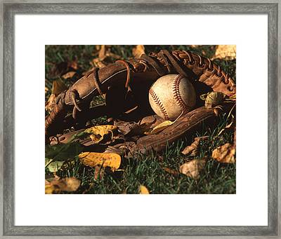 Ball And Glove Framed Print by Jack Dagley