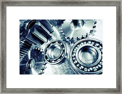 Ball-bearings And Cogs In Titanium Framed Print by Christian Lagereek