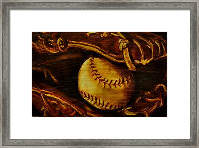 Ball In Glove 2 Framed Print by Lindsay Frost