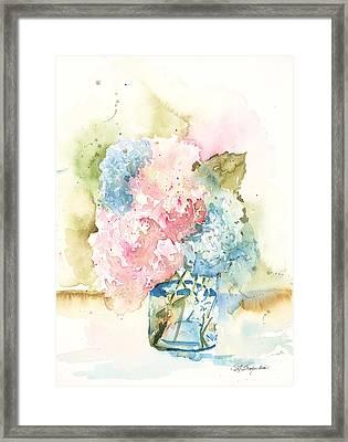 Framed Print featuring the painting Ball Jar Hydrangeas by Sandra Strohschein