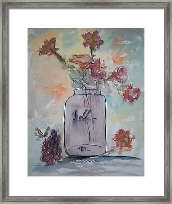 Ball Jar Vase Framed Print by Edward Wolverton
