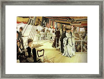 Ball On Shipboard Framed Print by James Tissot