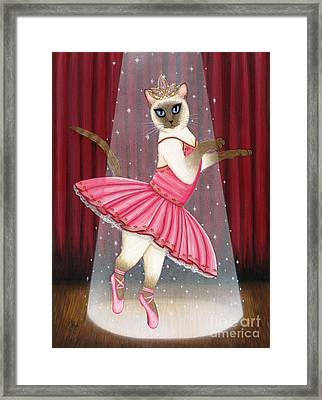 Framed Print featuring the painting Ballerina Cat - Dancing Siamese Cat by Carrie Hawks