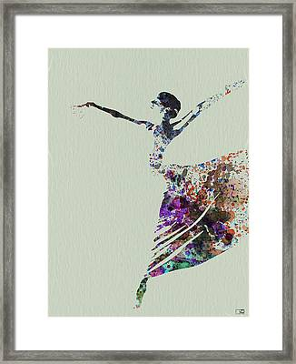 Ballerina Dancing Watercolor Framed Print by Naxart Studio