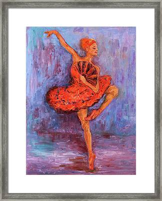Framed Print featuring the painting Ballerina Dancing With A Fan by Xueling Zou