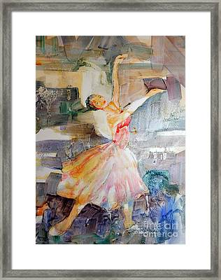Framed Print featuring the painting Ballerina In Motion by Mary Haley-Rocks