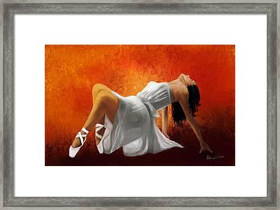 Ballerina In White Framed Print