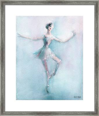 Ballerina Pastel Pink And Blue Framed Print by Beverly Brown