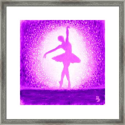 Framed Print featuring the painting Ballerina Purple And Pink by Bob Baker