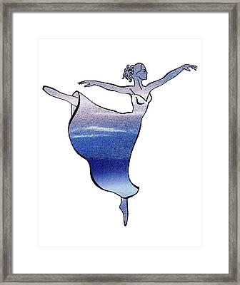 Ballerina Silhouette Peaceful Blue Arabesque Framed Print by Irina Sztukowski