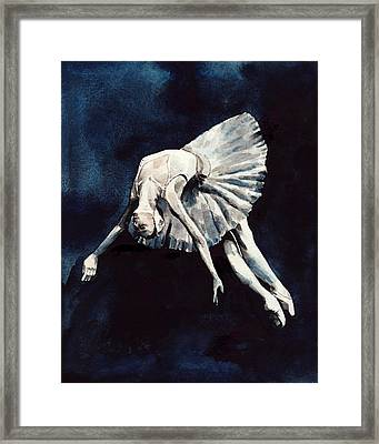 Ballerina Swan Dive Framed Print by Laura Row