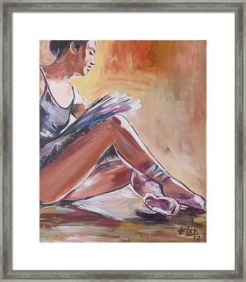 Ballerina Tying Shoes Framed Print by Vered Thalmeier