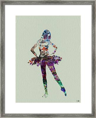 Ballerina Watercolor Framed Print by Naxart Studio