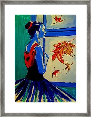 Ballerine En Automne Framed Print by Rusty Woodward Gladdish