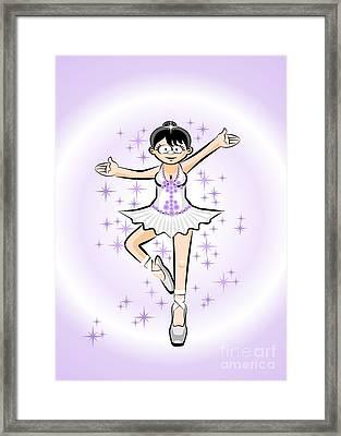 Ballet Dance Woman In Cartoon Style Framed Print