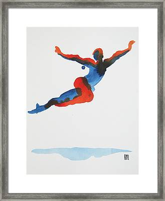 Framed Print featuring the painting Ballet Dancer 1 Flying by Shungaboy X