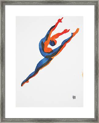 Framed Print featuring the painting Ballet Dancer 2 Leaping by Shungaboy X