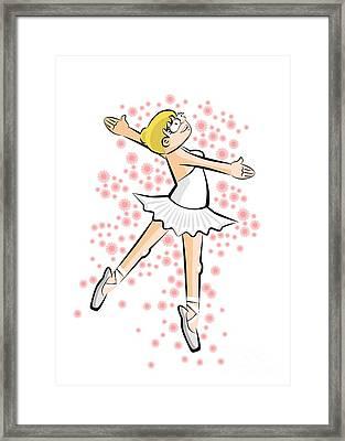 Ballet Dancer Girl Standing On Tiptoe Framed Print