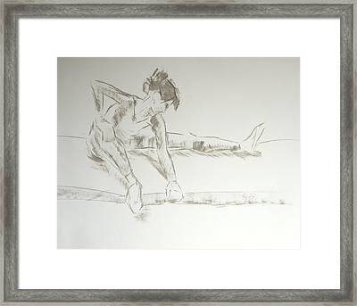 Ballet Dancer Seated Stretching Leg Framed Print by Mike Jory