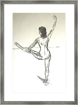 Ballet Dancer With Left Leg On Bar Framed Print