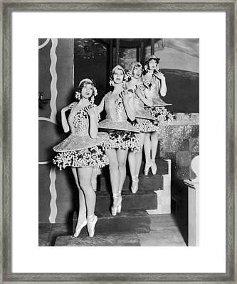 Ballet Dancers On Steps Framed Print by Underwood Archives
