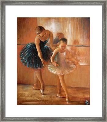 ballet lesson-painting on leather by Vali Irina Ciobanu  Framed Print