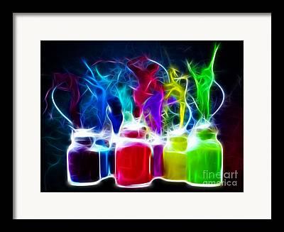 Bottles Of Paint Framed Prints
