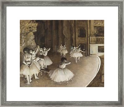 Ballet Rehearsal On Stage 1874 Framed Print by Edgar Degas