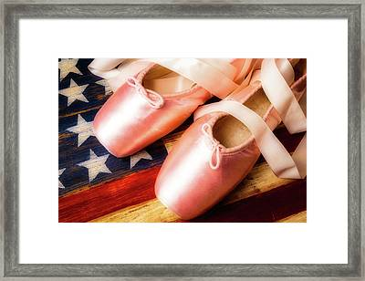 Ballet Shoes And American Flag Framed Print