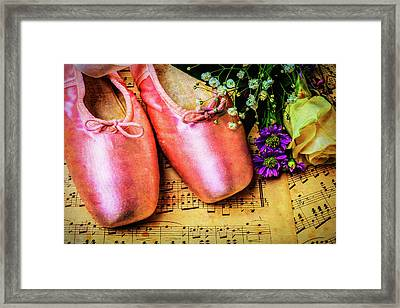 Ballet Shoes And Old Sheet Music Framed Print by Garry Gay