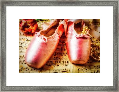 Ballet Shoes And Perals Framed Print