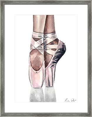 Ballet Shoes En Pointe Pink Slippers Toe Shoes Ballerina Framed Print by Laura Row