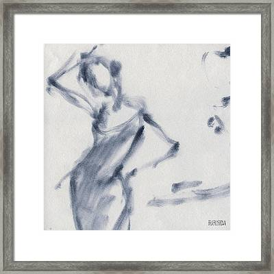 Ballet Sketch Hand On Head Framed Print by Beverly Brown