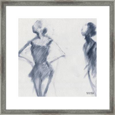 Ballet Sketch Hands On Hips Framed Print by Beverly Brown