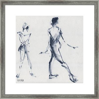 Ballet Sketch Tendu Back Framed Print by Beverly Brown
