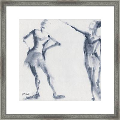 Ballet Sketch Two Dancers Shift Framed Print by Beverly Brown