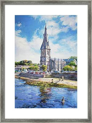Ballina Cathedral On River Moy Framed Print by Conor McGuire
