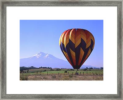 Balloon And Mt. Shasta Framed Print by Jim Nelson