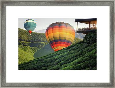 Balloon And Viewpoint On The Top Of Cameron Highland Framed Print by Anek Suwannaphoom