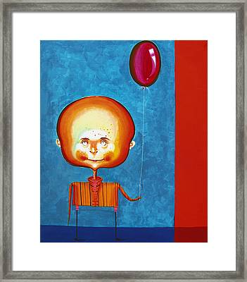 Balloon Boy - Acrylics On Canvas Framed Print by Tiberiu Soos