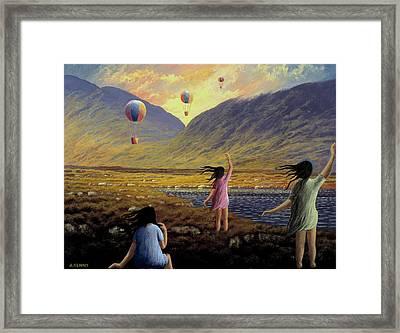 Balloon Children Framed Print by Alan Kenny