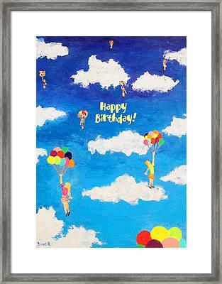 Balloon Girls Birthday Greeting Card Framed Print