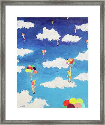 Balloon Girls Framed Print