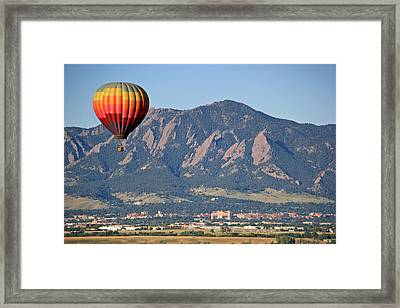 Balloon Over Flatirons And Cu Framed Print by Scott Mahon