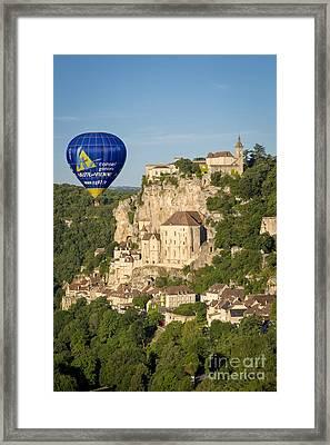 Balloon Over Rocamadour Framed Print