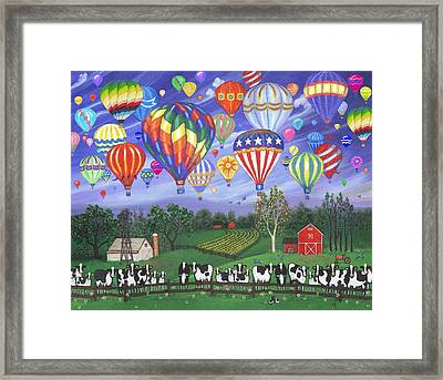 Balloon Race Two Framed Print by Linda Mears