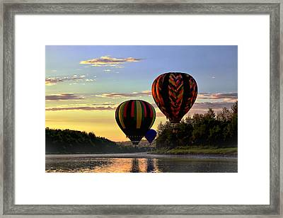 Balloon River Flight Framed Print by Gary Smith